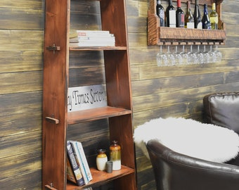 Ladder Shelf Bookcase Wood Shelving Unit Open Bookshelf Storage And Organization Shelves