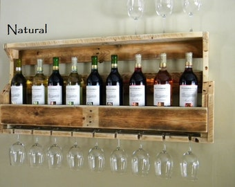 Christmas Gift, Rustic Wine Rack, Reclaimed Wood, Rustic Decor, Country Home Decor, Pallet Wine Rack, Gifts For Dad, Wooden Shelf, Wine