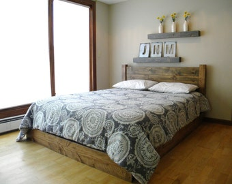 Platform Bed, Headboard, Bed Frame, Beds, Twin, Full, Queen, King, Furniture, Bedroom Furniture, Queen Headboard, Wood, Rustic, Home
