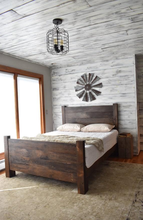 Wood Bed Frame Platform Bed Queen Bed King Headboard | Etsy