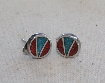 Vintage Sterling Silver 925 Red Coral Turquoise Stone Stud Earring