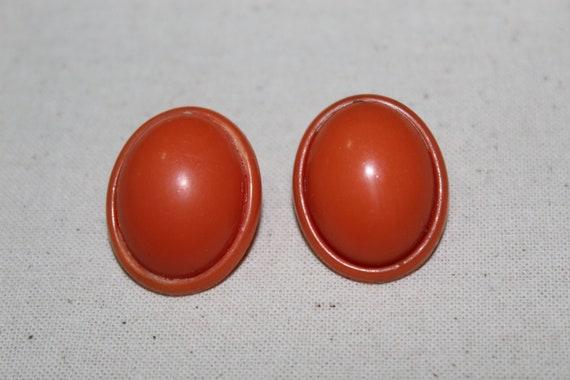 Vintage Orange Tangerine Clip On Plastic Dome Earr