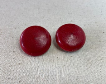 Vintage Red Orange Tangerine Wood Dome Button Japan Earrings Clip On 1940s