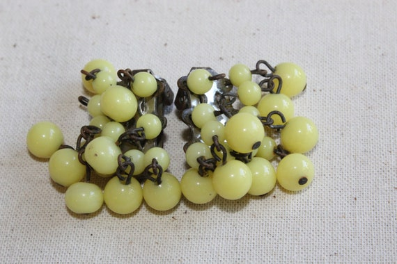 Vintage Yellow Glass Bead Cluster Waterfall Dangle