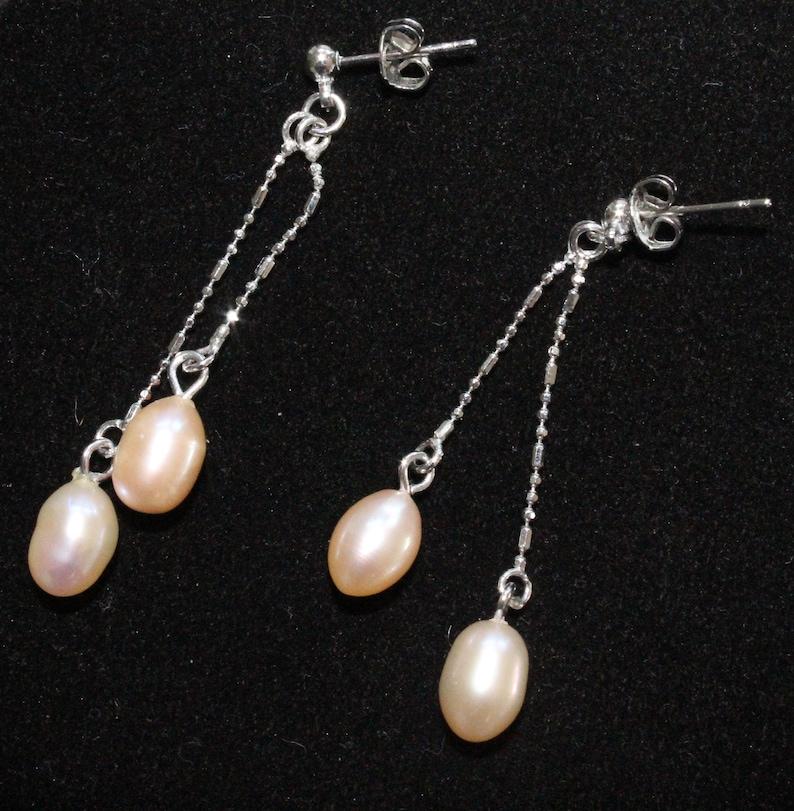 Vintage Cultured Pearl White Gold Stud Dangle Earring 18KGP