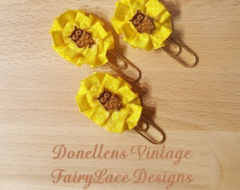 Set of Three Yellow Fall Owl Page Planner Clips, Designer Clips Handmade by FairyLace Designs