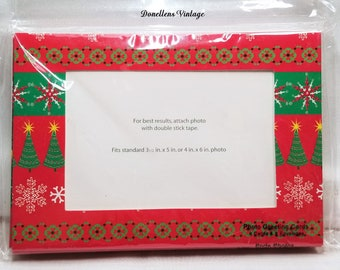 Christmas Photo Holders , Photo Greeting Cards and Envelopes Set of Eight Christmas Tree presented by Donellensvintage