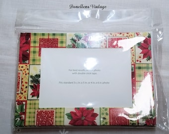 Christmas Photo Holders , Photo Greeting Cards and Envelopes Set of Eight Poinsettia presented by Donellensvintage
