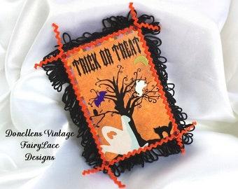 Handmade Halloween Magnet for Locker, Office, Refrigerator or Dorm Wooden Base by FairyLace Designs