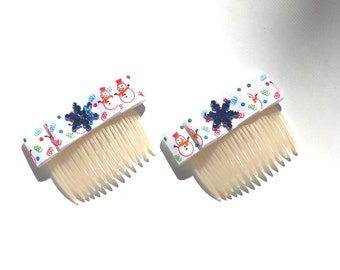 Snowflakes and Snowmen Blue & White Christmas Holiday Hair Combs - by FairyLace Designs