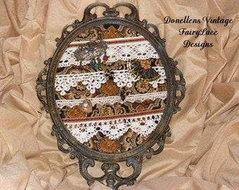 Upcycled Jewelry Holder Altered Ornate Frame Quilted Lace Jewelry Storage Mirror Mirror  by FairyLace Designs
