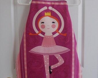 Cute ballerina girl's apron, pink  -  age 6-12