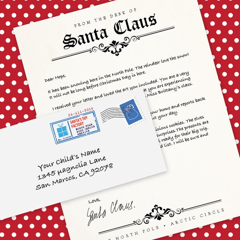 Letter from Santa Claus | MS Word Template, Letterhead & Printable Envelope  | Printable | DIY | Instant Download | MS Word