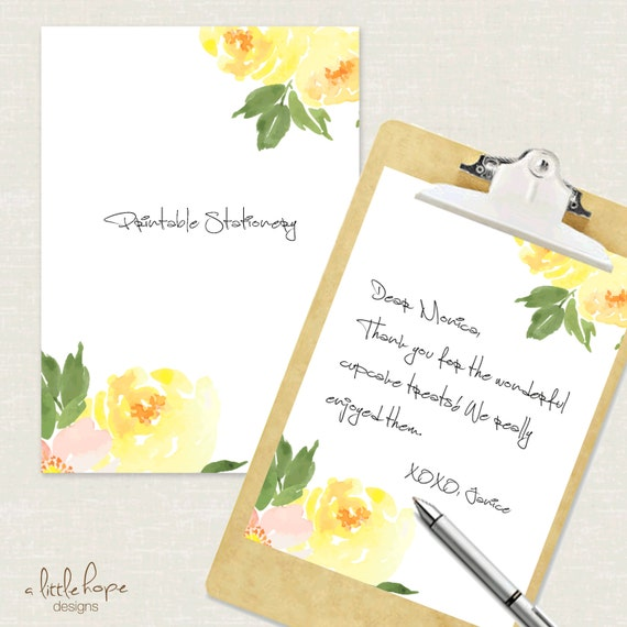 printable stationery yellow flowers instant download edit etsy