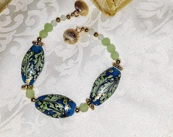 Spring Greens and Blues Lampwork Bracelet