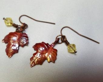 Leaf Copper Earrings