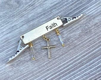 Keep the Faith Shawl Gem/Cardigan Clip  (SC463)