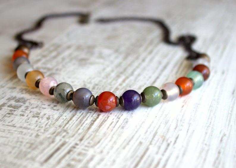 Multi color necklace Boho necklace Bohemian Necklace Yoga Necklace Gemstone Necklace Agate Necklace