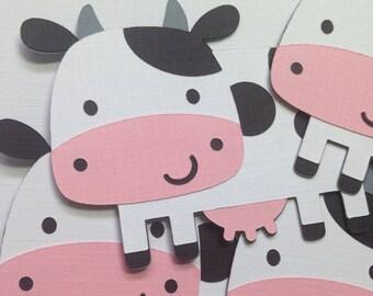 Cow Die Cuts ~ Farm Animal Party, Friendly Farm Birthday Party, First Birthday Party Ideas, Barnyard Animal Birthday, Barnyard Animal Ideas