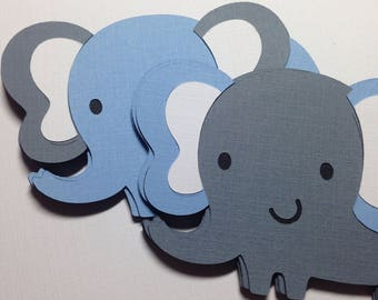 Elephant Baby Shower Decorations, Grey and Blue Elephant Die Cuts, Baby Boy Shower, Safari Animal Baby Shower, Elephant Party Decorations,