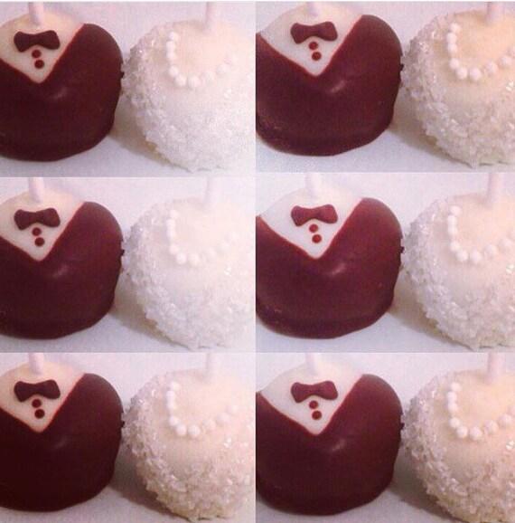Dozen Wedding Cake Pops Bride Groom Cake Pops Tuxedo Cake Etsy