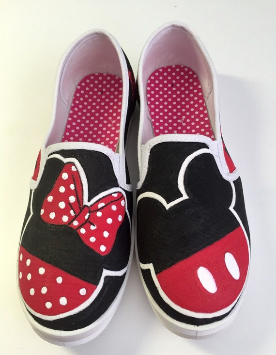 141dba2f3cce1 Mickey and Minnie silhouette painted canvas shoes
