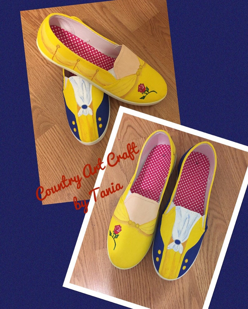 672cc1b92e862 Beauty and the Beast painted canvas shoes