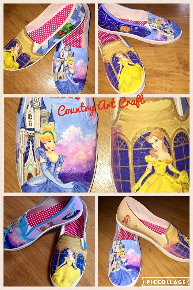 1ee07a297fb07 Princesses painted canvas shoes