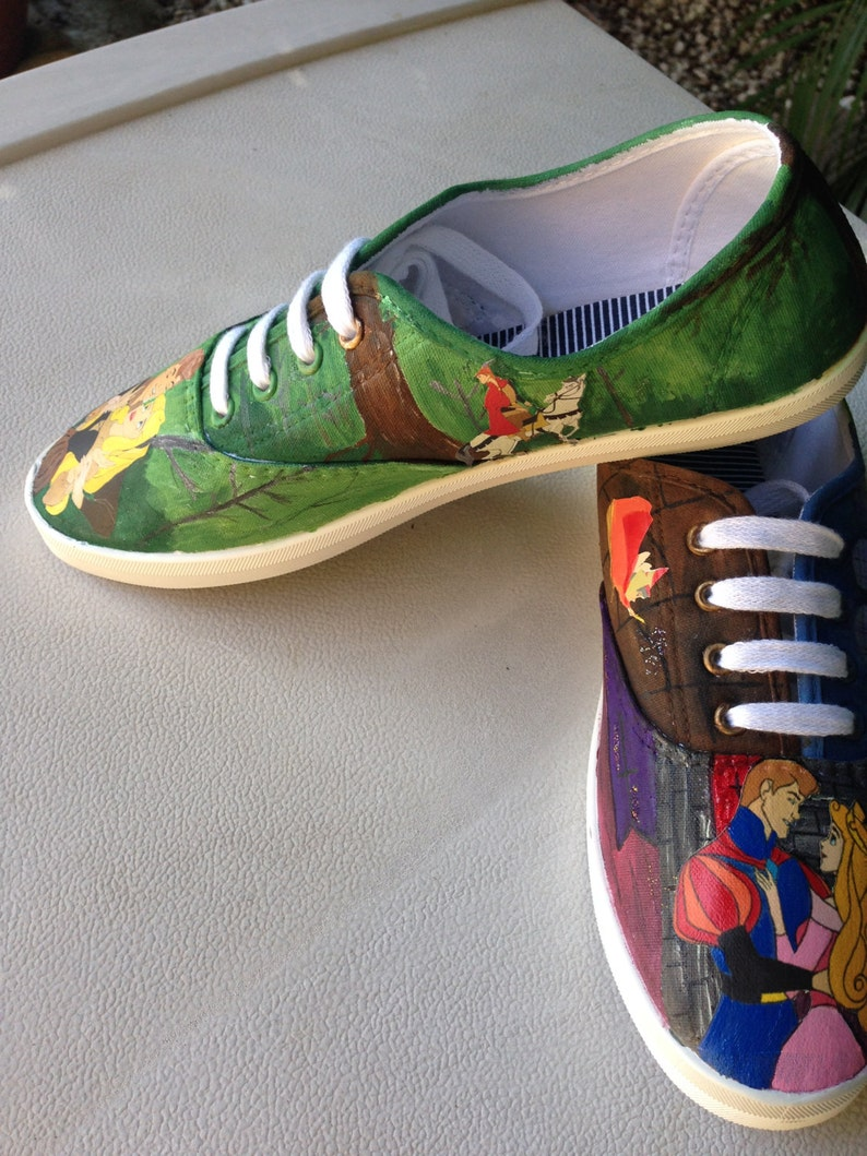 982a730003bff Sleeping Beauty/Briar Rose Painted Canvas Shoes