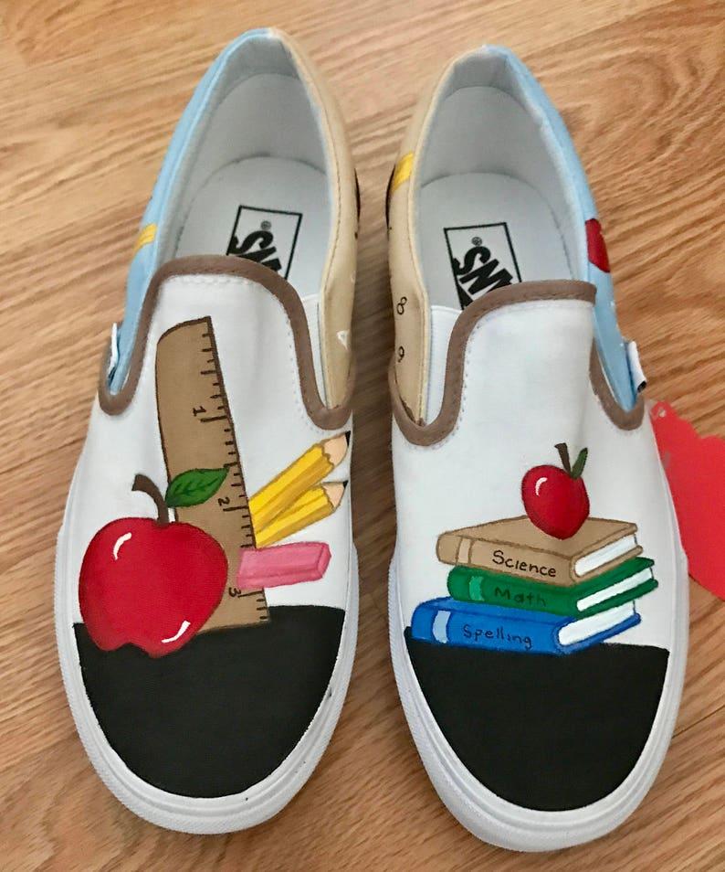 ec7cb7460c3f7 Teachers painted canvas shoes