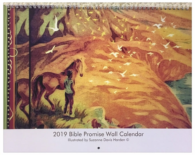 Featured listing image: The 2019 Bible Promise Wall Calendar Designed & Illustrated by Suzanne Davis Harden