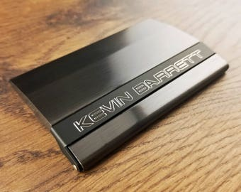 business card holder gunmetal black with free engraving personalized custom business or credit card holder - Custom Business Card Holder