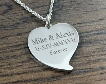 Engraved pendant etsy personalized heart pendant with free engraving stainless steel teardrop heart necklace engraved for free ladies necklace valentines day aloadofball Gallery