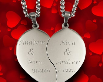 a6f7de99f6 Custom Couples Necklace Broken Heart, Valentine's Day Pendant Engraved for  Free, Stainless Steel Customized Chain Personalized Love Necklace