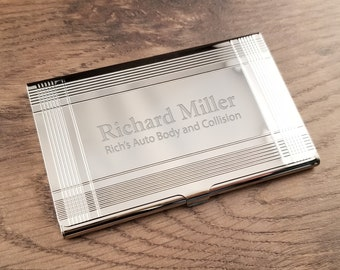 business card holder silver bars with free engraving personalized custom business or credit card holder - Custom Business Card Holder