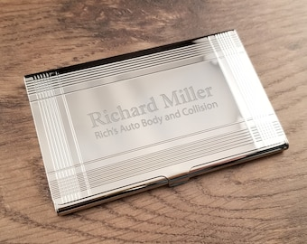 Engraved card holder etsy business card holder silver bars with free engraving personalized custom business or credit card holder colourmoves