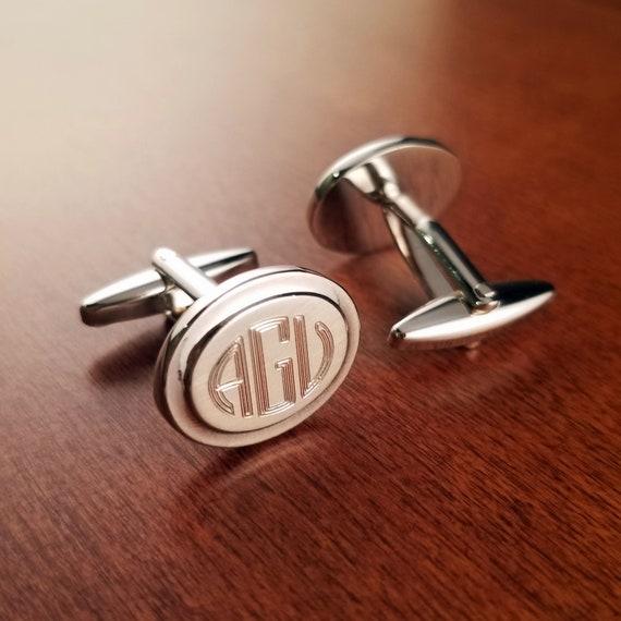 Personalized Cuff Links Engraved for Free Gunmetal Crescent Designer Cuff Links Customized