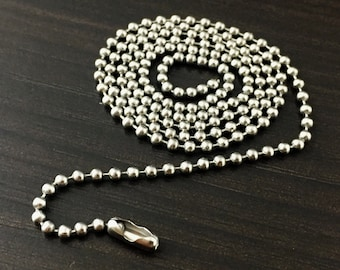 Stainless Steel Ball Chain, Military Style, Men's Chain, Durable Chain,