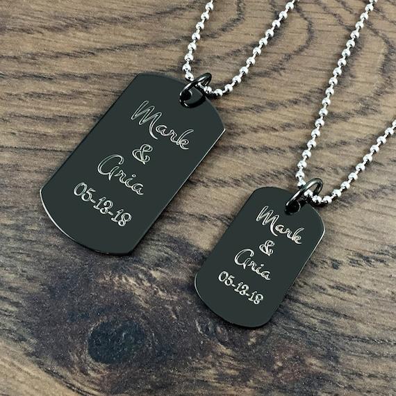 2pcs son et sien Lovers en acier inoxydable Forever toujours couple Dog Tag Collier