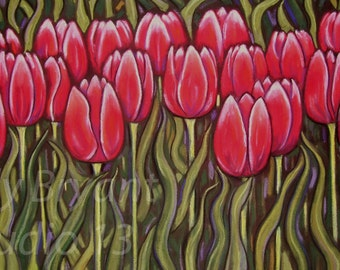Tulips, Giclee print of original pastel painting