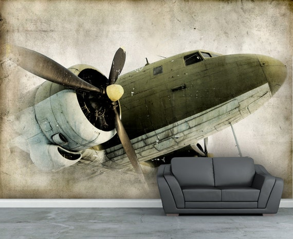 papier peint vintage retro h lice avion mural papier sticker etsy. Black Bedroom Furniture Sets. Home Design Ideas