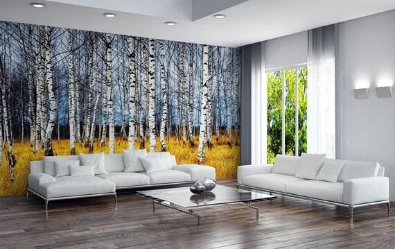 bouleau papier peint de bosquet for t de bouleaux en etsy. Black Bedroom Furniture Sets. Home Design Ideas