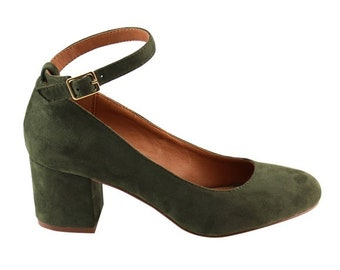 99d9fd21dc4 Olive Green Velvet Ankle Strap Heels - 7.5M