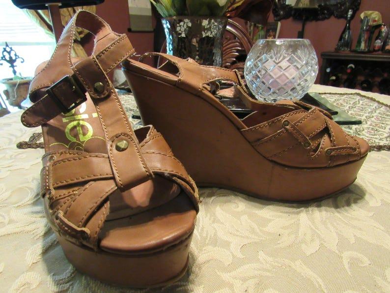 13700bf06f3de Dark Tan Genuine Leather Platform Wedge Heel Sandals - Size 7 1/2 M 7.5 M