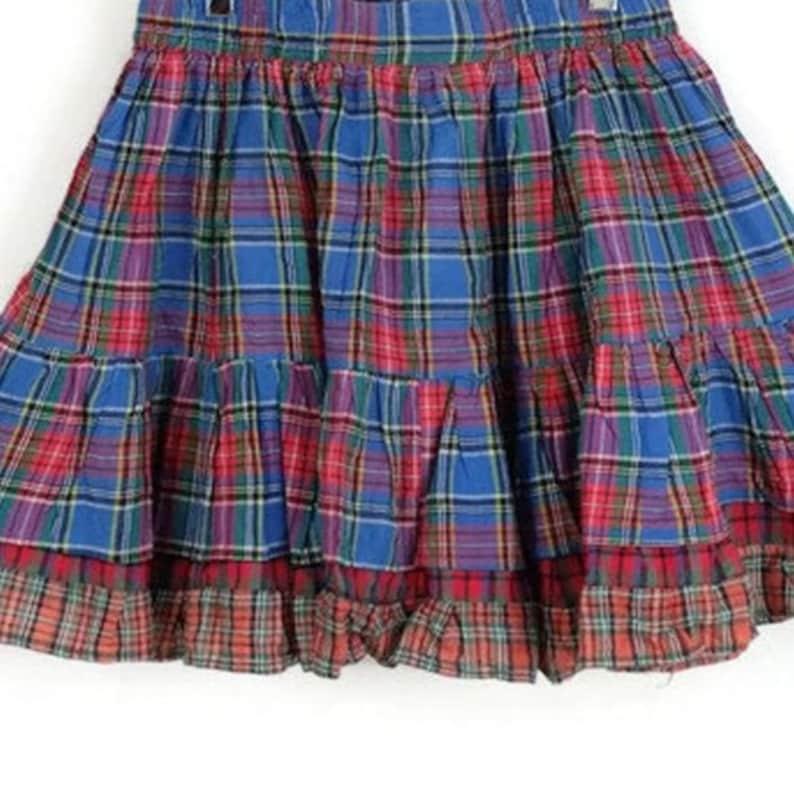 Blue Red Pleated Plaid Skirt w Contrast Trim ML
