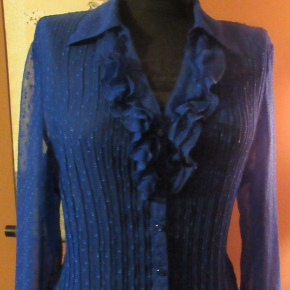 Swiss Dot Ruffle Cobalt Blue Blouse - XL