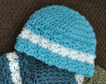 STAR STITCH BEANIE 0-3 Months Baby Photo Prop Handmade Quality Shower Gift  Aqua Blue   White Soft Acrylic Yarn Knit or Crochet 9ce9986e4d7