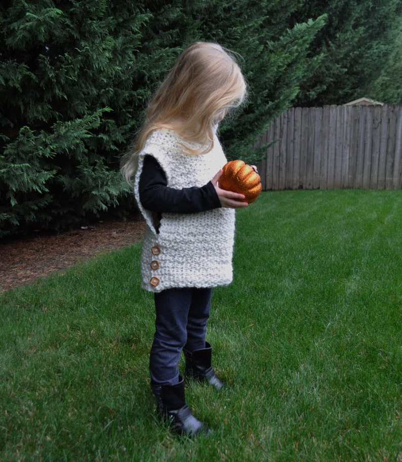 IN STOCK ALPACA Blend Pull-Over Cowl Neck Sweater Vest Girls Size 34 Years Real Wood Buttons Warm Comfortable Super Cute Knit or Crochet