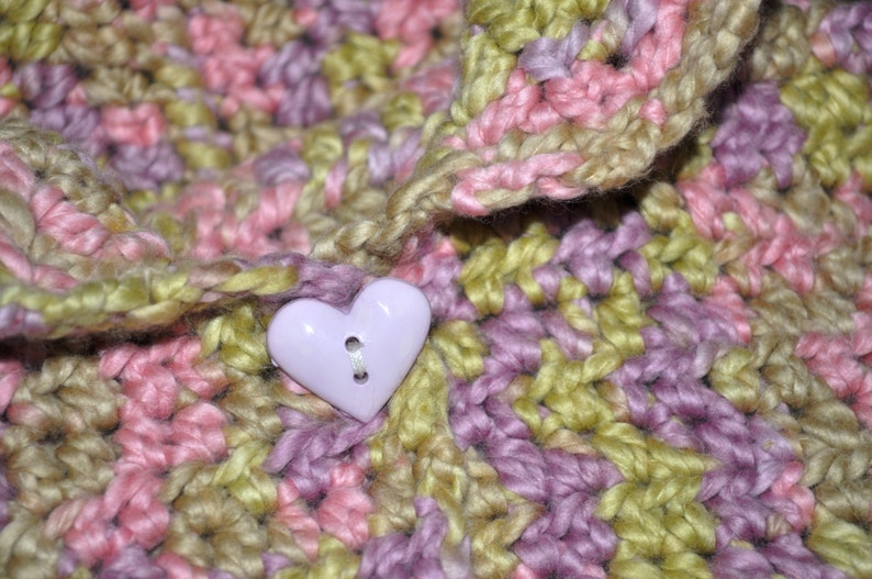 SOFT ORGANIC COTTON Hooded Toddler Girl Sweater Size 18-36 Months One Button Closure Pretty Pink Lavender Green Variegated Yarn Knit Crochet