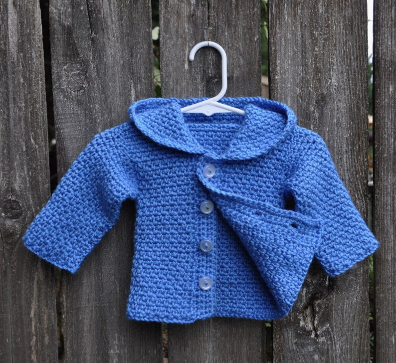 NEWBORN HOODED SWEATER Button Front Hoodie Infant Baby GirlBoy Sweet Fun Handmade Baby Shower Gift Soft Blue Acrylic Yarn Knit or Crochet
